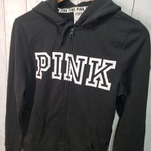 Victoria's Secret Pink Black Full Zip Hoodie Sz S